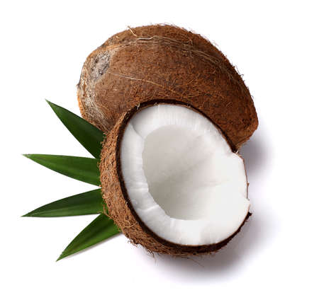 coconut milk: Fresh coconut with leaves