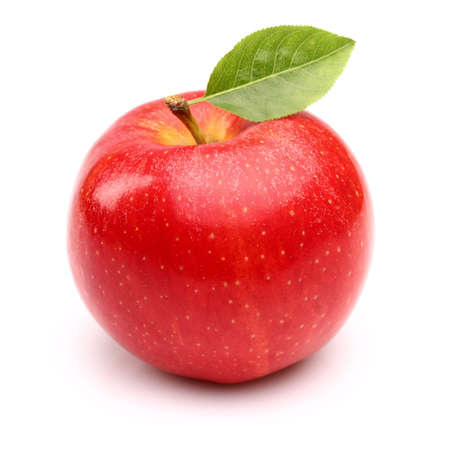 green apple: Red apple with leaf