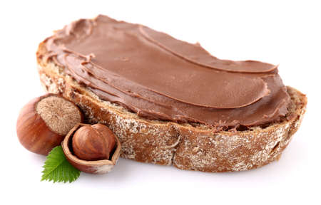 filbert nut: Chocolate cream with nuts Stock Photo