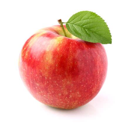 manzana roja: Manzana madura con la hoja