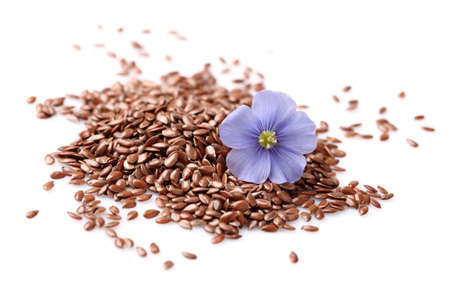 Flax seeds with flowers photo
