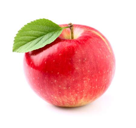 pomme rouge: Pomme douce avec des feuilles