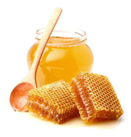 honey cell: Fresh honey with honeycomb