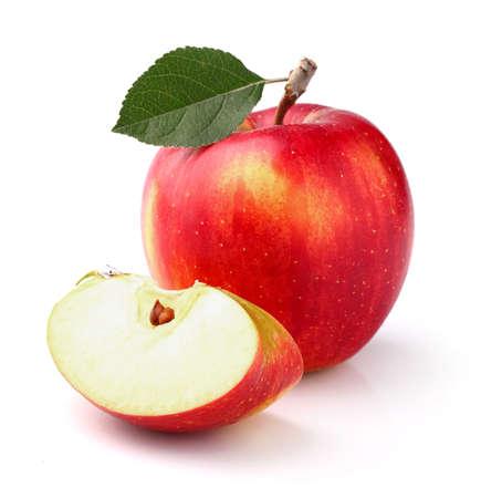 Manzana roja con hoja Foto de archivo - 23841828