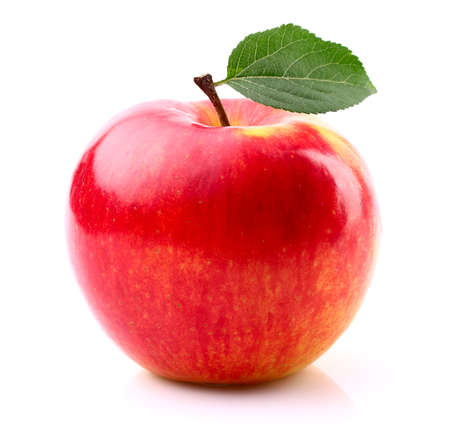 Ripe apple with leaf Stock Photo