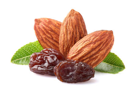 Amandes avec des raisins secs Banque d'images