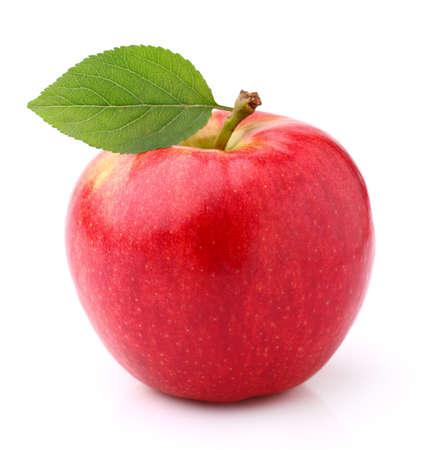 Ripe apple with leaf 免版税图像
