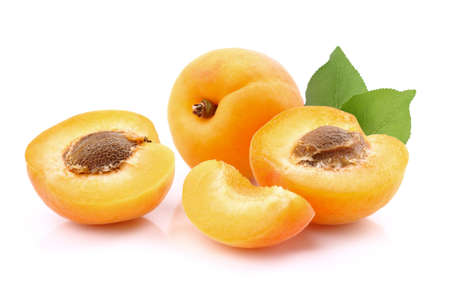 Fresh apricot with leaves