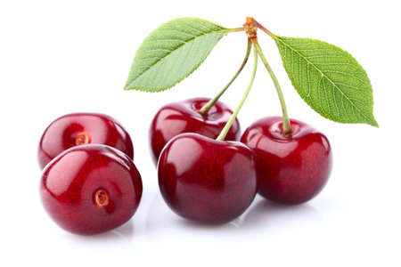 Sweet cherry with leaves