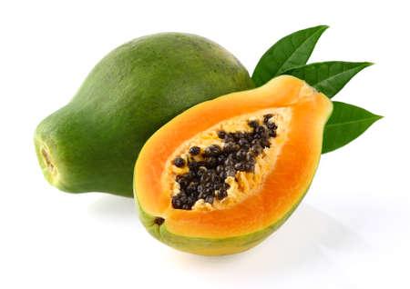 Papaya con foglie Archivio Fotografico