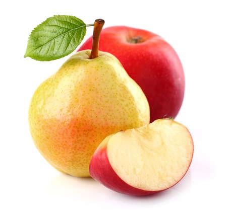 manzana roja: Pera con manzana Foto de archivo