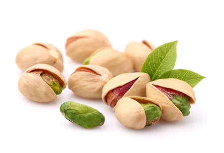 Pistachios with leaves