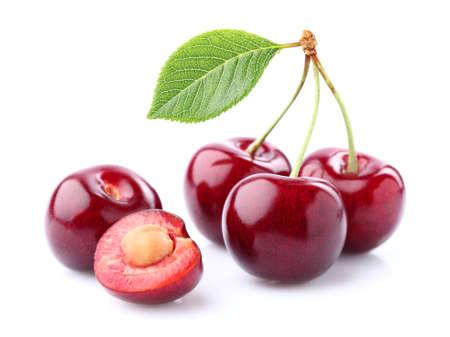 cereza: Cereza fresca con la hoja