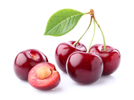 Fresh cherry with leaf Stock Photo