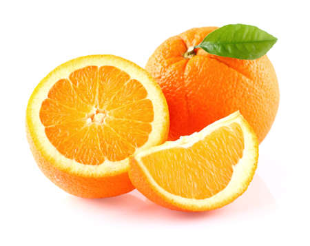 fruit: Orange fruit with leaf Stock Photo