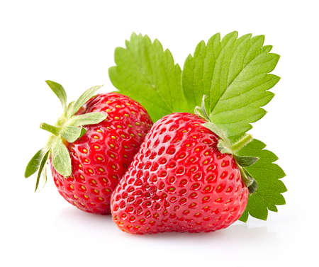 Strawberry with leaves 스톡 콘텐츠