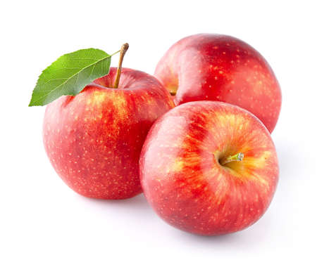 葉と赤りんご 写真素材
