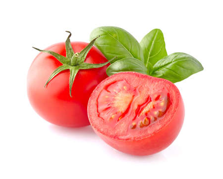 basil: Tomato with basil leaves