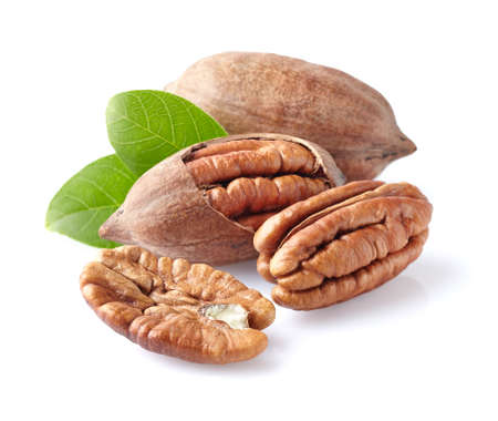 hickory nuts: Pecans with leaf Stock Photo