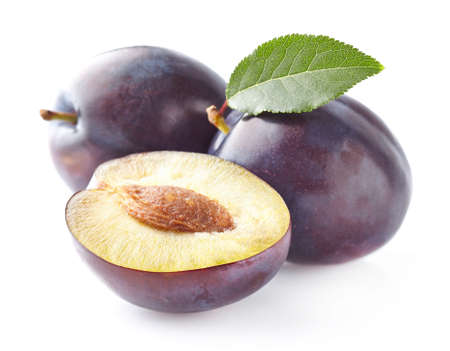 purple leaf plum: Fresh plums Stock Photo