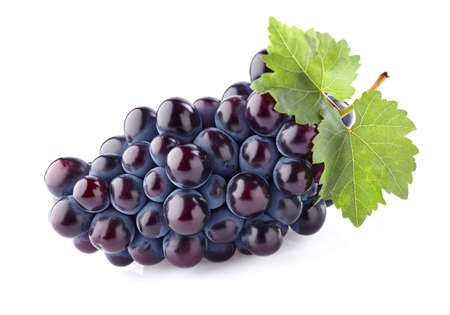 purple red grapes: Grapes with leaves Stock Photo