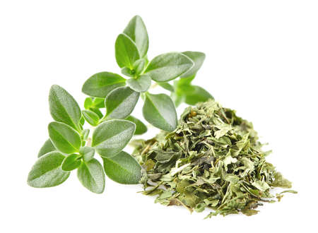 dried: Thyme. Dried and fresh Stock Photo