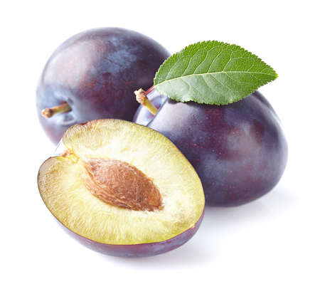 purple leaf plum: Ripe plums with leaves