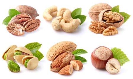 cashew nuts: Nuts collage Stock Photo