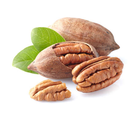 hickory nuts: Pecan nuts with leaves