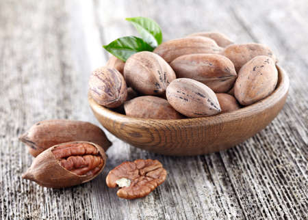 hickory nuts: Pecan nuts Stock Photo