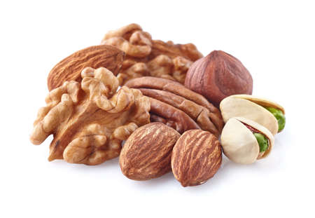 hickory nuts: Nuts on a white background Stock Photo