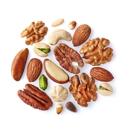 Mix nuts on a white