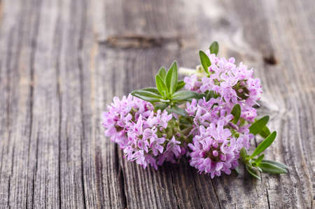 Thyme flowers on a wooden background