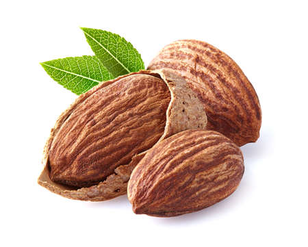kernel: Almonds kernel with leaves Stock Photo