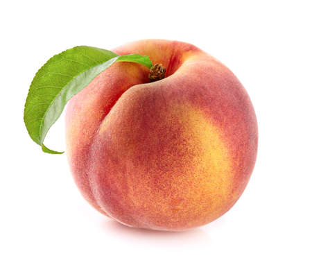 One peach with leaf Stock Photo