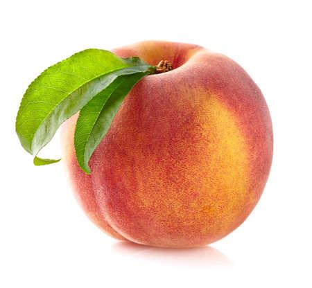 fresh leaf: Fresh peach with leaf Stock Photo