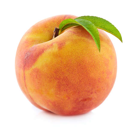 Peach with leaf Stock Photo