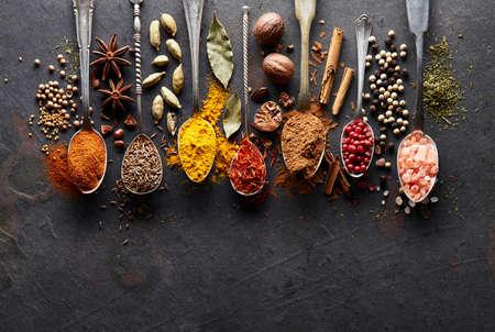 Spices on a graphite board