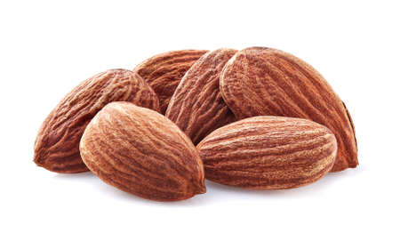 Almonds kernel in closeup on a white background