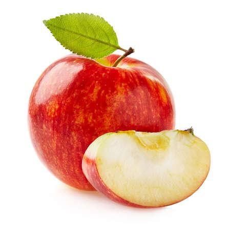 Apple with leaf in closeup Stok Fotoğraf