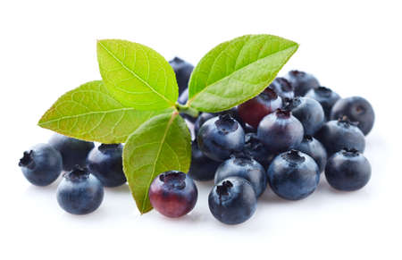 Fresh blueberry with leaves isolated on white Stok Fotoğraf