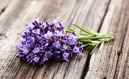 Lavender flowers on wooden board Stok Fotoğraf