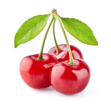 Cherry with leaves isolated on white Stok Fotoğraf