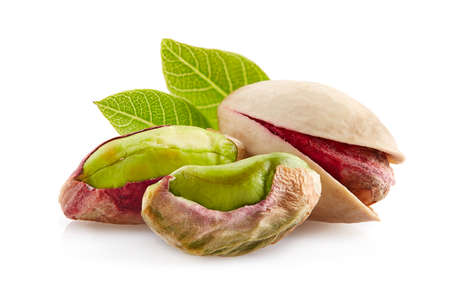 Pistachio in closeup with leaves