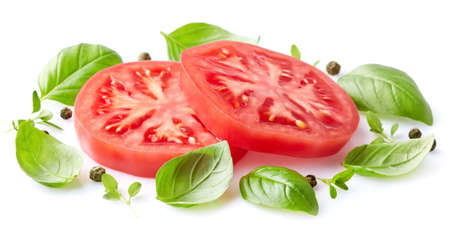 Tomato with herbs Stock Photo