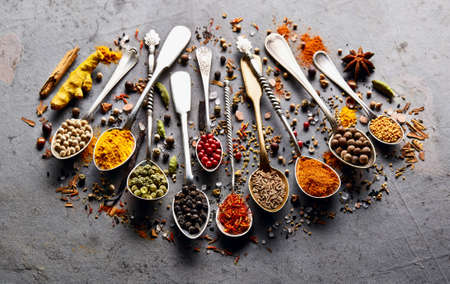 Spices on black baclground