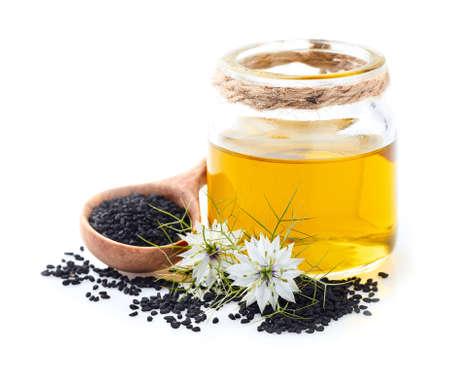 Olej z czarnuszki z kwiatami