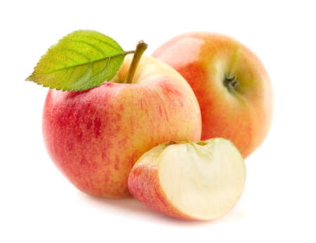 Pink apple with leaf