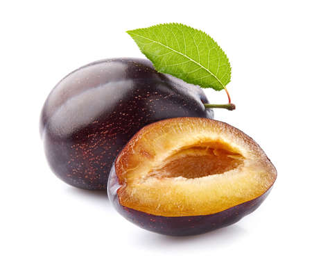 Plum with slice in closeup Stock Photo
