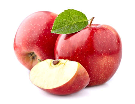 Red apples with leaf